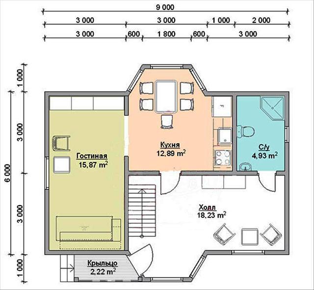 План-чертеж дома 6х9